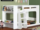 Sleepland Shortie Bunk Bed In White - Modern Design With Shelves