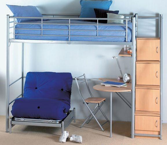 Hyder Storage Loft Bunk Bed With Desk Storage Steps