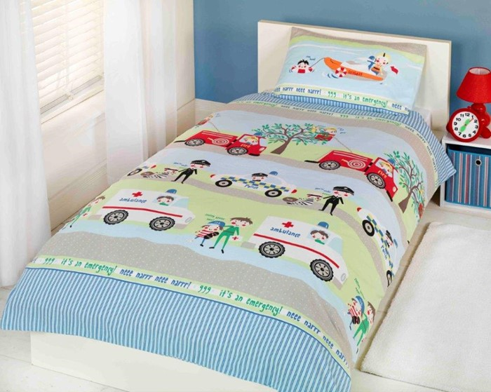 Emergency Vehicles Poly Cotton Kids Childrens Boys S Single Or Double Size Duvet Cover Set