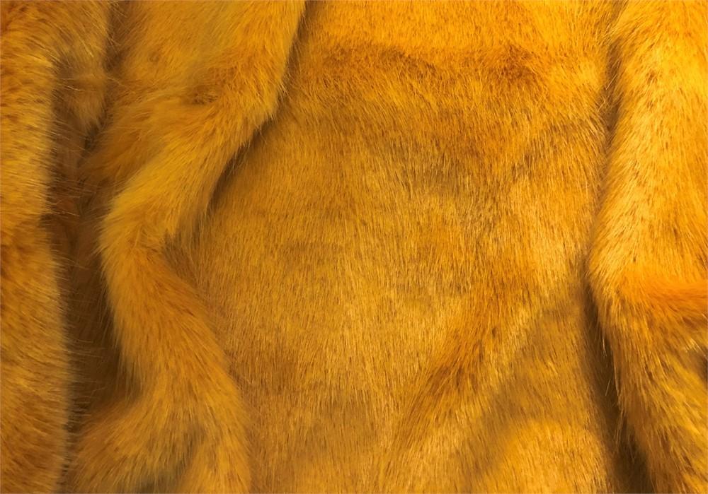 SUPER LUXURY Short Plush Faux Fur Fabric Material GOLDEN BEAR