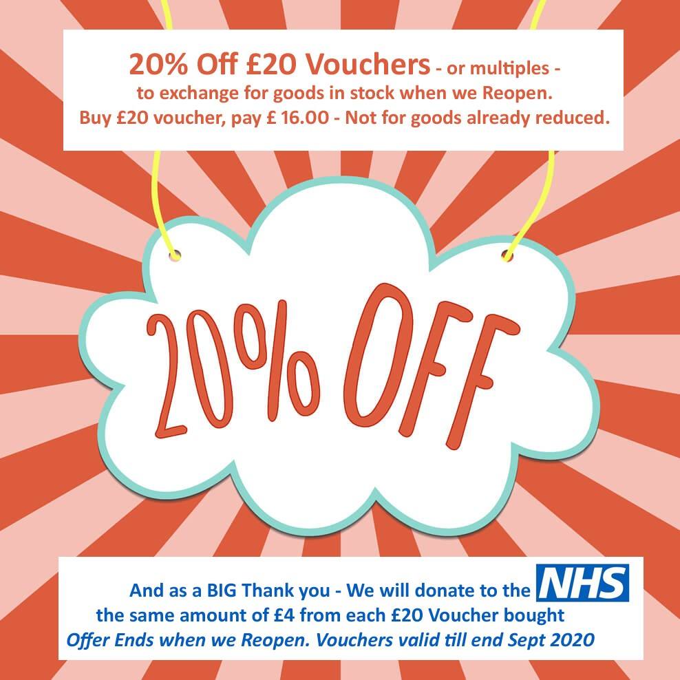 20% off £20 Vouchers for the NHS