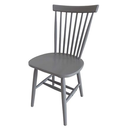 2x Rib Spindle Back Dining Chair - Shale Finish - grey