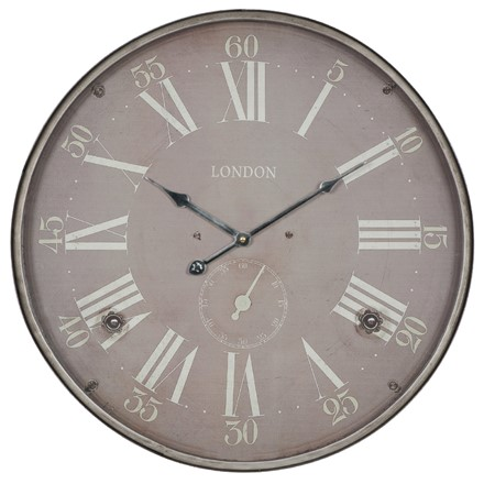 Antique Silver Metal Round Wall Clock