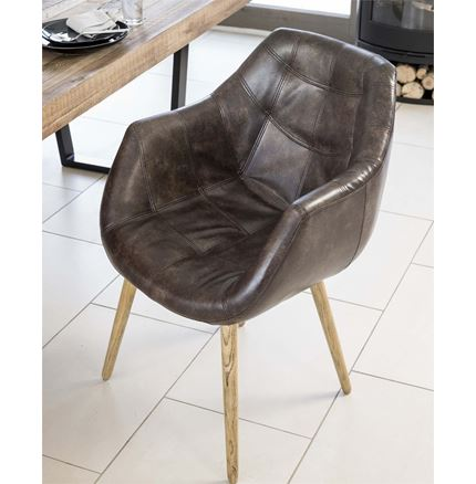 Bailey Tub Dining Chair - Real Bonded Leather