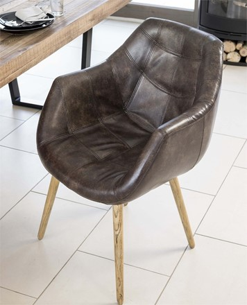 Bailey Tub Dining Chair - Real Leather