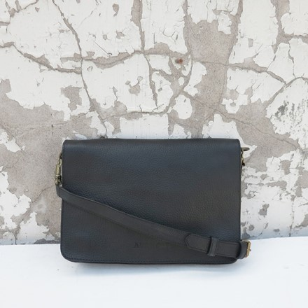 Bina Clutch Bag in Black Leather