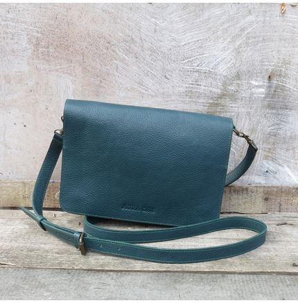Bina Clutch Bag in Teal Leather