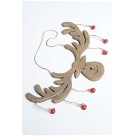 Brown Wood Hanging Reindeer Head With Bells - Christmas decoration