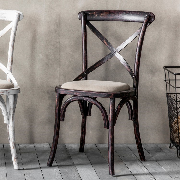 Cafe Chair cross back bentwood Dining Chair with upholstered seat ...
