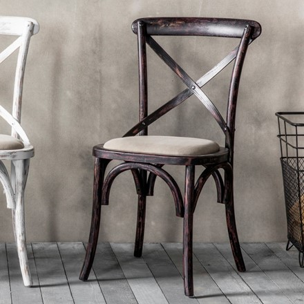 Cafe Chair cross back bentwood Dining Chair with upholstered seat - distressed black finish