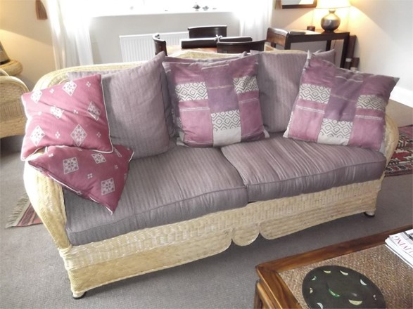 Cane Furniture Clearance - Ex Shop Display 6 Seater Cane suite with 2 side tables