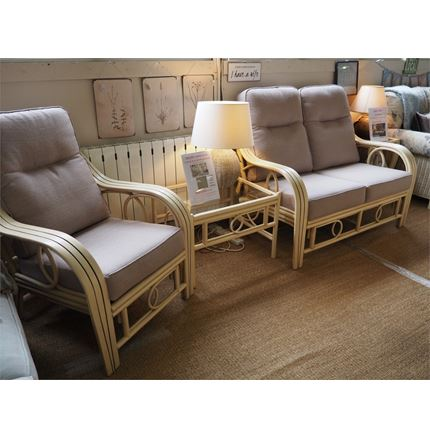 Cane furniture clearance - 3 pc Set - Madrid Sofa, Armchair + coffee table (by Desser)