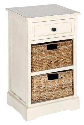 Cream Wood 1 Drawer 2 Basket Unit