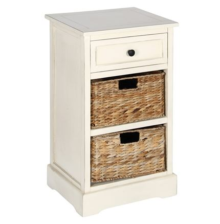 Cream Wood 1 Drawer 2 Basket Unit