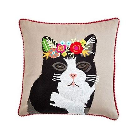 Floral Tuxedo Cat Cushion