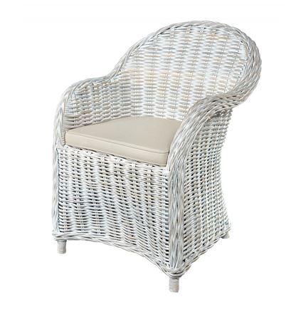 Maya Whitewash Armchair with seat pad - Kubu / Rattan