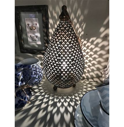 Moroccan Style Metal Table Lamp - Antique finish