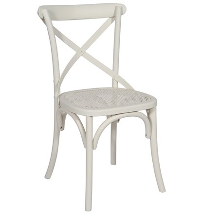 NOW SOLD - Brittany Cross Back / bent wood Dining Chair - Antique White