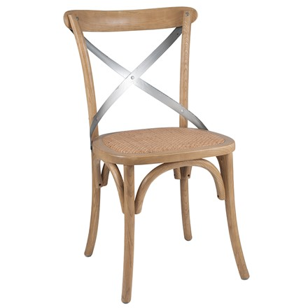 Natural Elm Wood, Metal & Rattan cross back bentwood Dining Chair