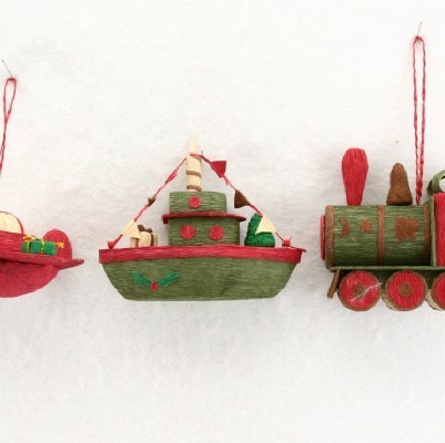 PM Boat / Train / Plane  3 assorted Christmas Decorations