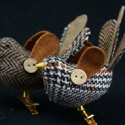 Plaid Fabric Clip on Bird,  2 assorted Christmas Decorations