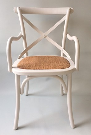 Rhone Cross Back / bent wood Carver Dining Chair - White