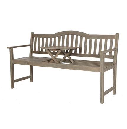 Richmond Antique Grey Acacia Wood Bench with Pop Up Table - Outdoor Rattan Furniture