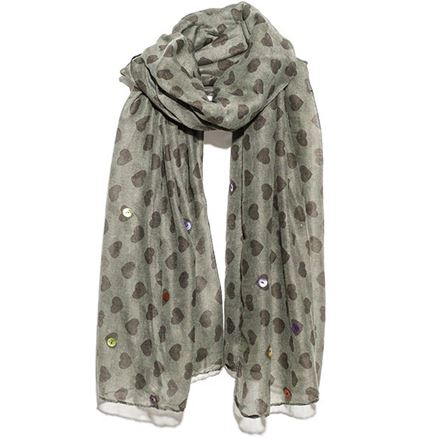 SCARF - all over heart - WITH BUTTON TRIM - Hem & Edge by Onebutton