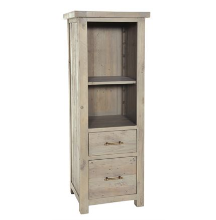 Saltash Dining Furniture - Bookcase with 2 Drawers with 1 file and 1 shelf