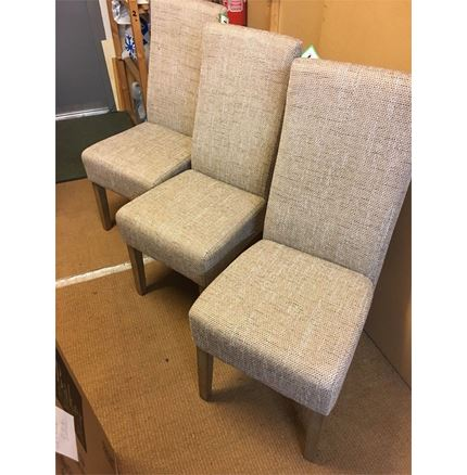 set of 3 Light Brown Fabric Dining Chairs - with fault