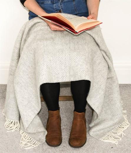 Wool Blanket Online. British Made Gifts. Herringbone Pure