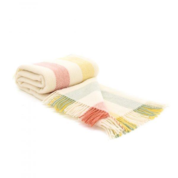 Wool Blanket Online. British Made Gifts. Rainbow Stripe