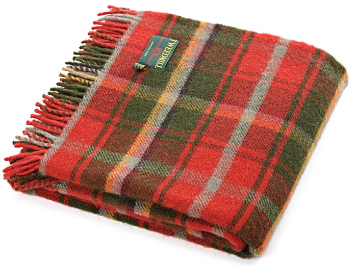 Tartan Wool Picnic Blanket Dark Maple Tweedmill