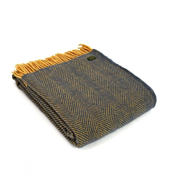 Herringbone Wool Throw Navy Mustard